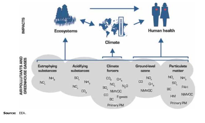 El impacto de la contaminación del aire en la salud del hombre, en el clima y en los ecosistemas