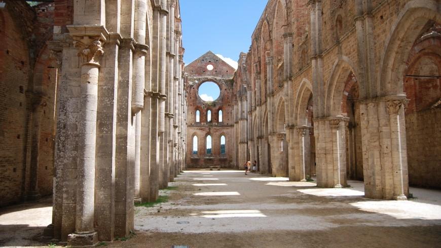 La Abbazia de San Galgano, Toscana, Italia