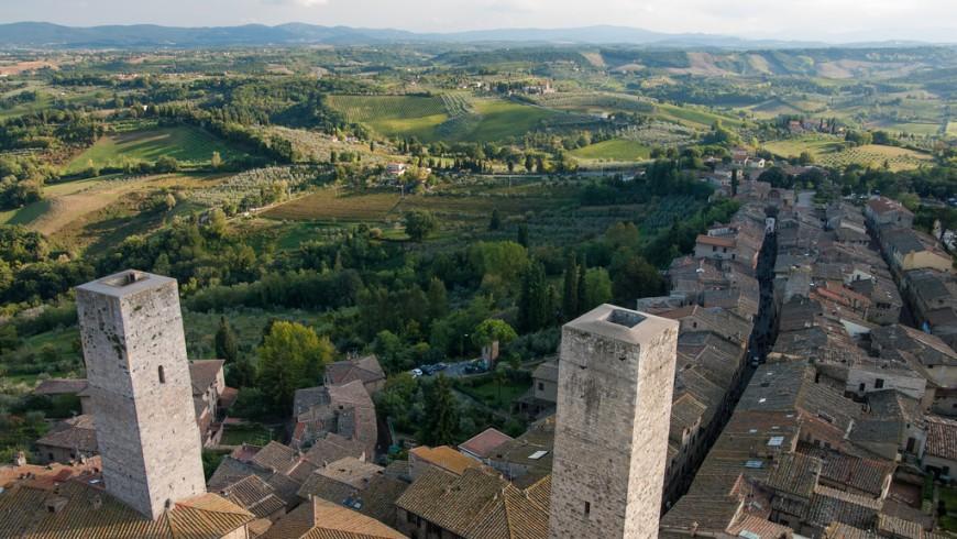 Vista de las torres de San Gimignano, Toscana, Italia