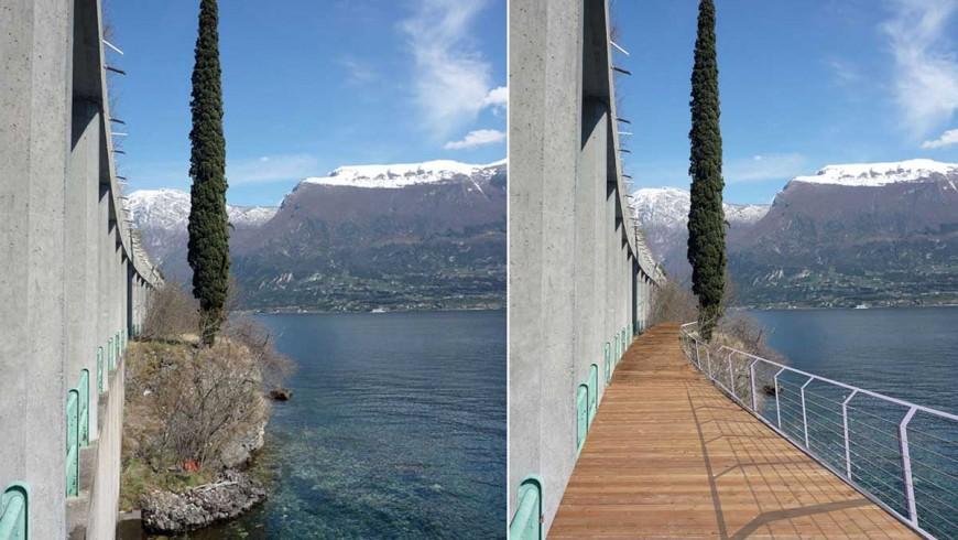 Trayecto del carril bici del Lago de Garda: el antes y el después