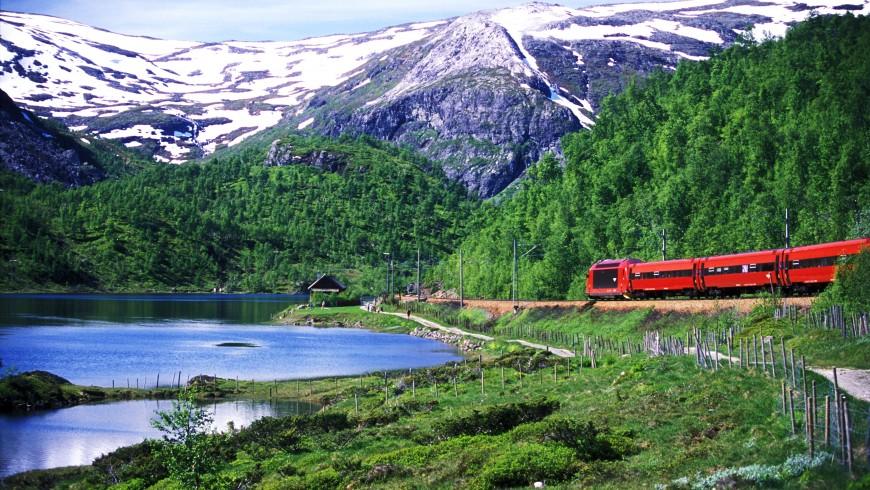 Paisaje montañoso del recorrido del ferrocarril de Bergen en Noruega
