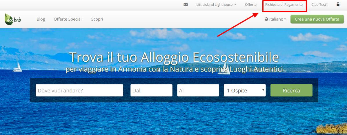 """Página de inicio de Ecobnb, después de iniciar sesión, en la parte superior derecha del menú puede encontrar el botón """"Solicitud de pago"""""""