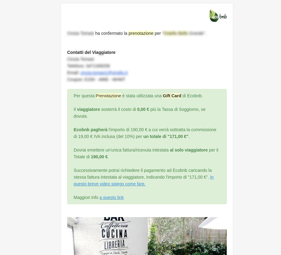 Ejemplo de un mensaje con Green Box que distingue la Reserva con Tarjeta de regalo (Gift Card)