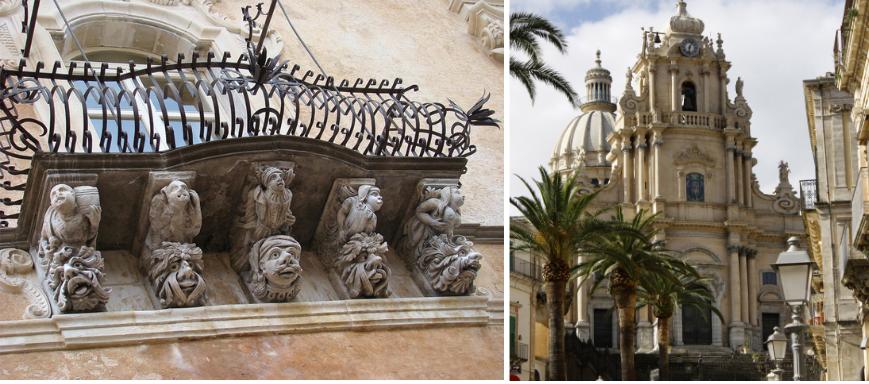 A la izquierda, detalle decorativo en la fachada del Palazzo Cosentini. A la derecha, la catedral de San Jorge en Ragusa Ibla.