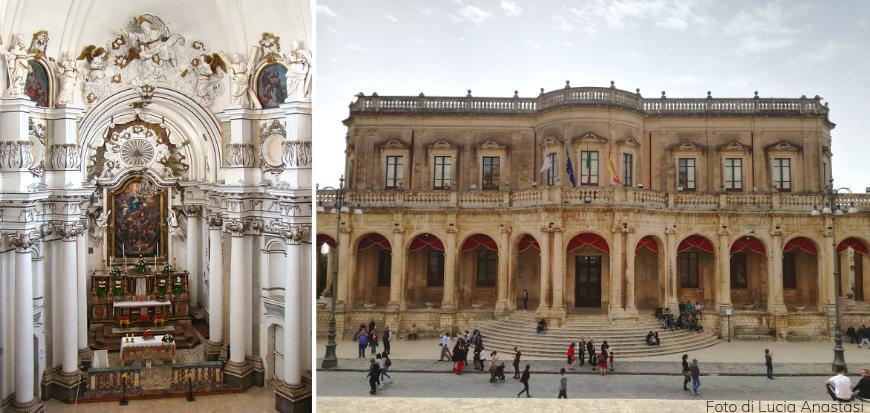 A la izquierda, dentro de la iglesia de Santa Chiara. A la derecha, ayuntamiento de Noto.