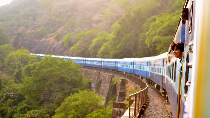 tren rodeado por la naturaleza, como reducir la huella ecológica