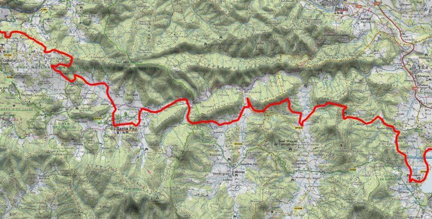 mapa de la ruta desde Banyoles hasta Olot