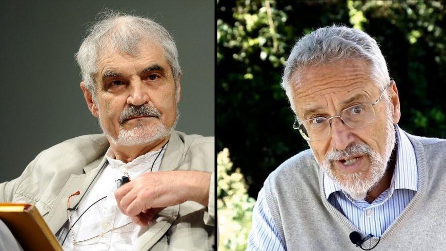Serge Latouche por la izquierda y Maurizio Pallante por la derecha